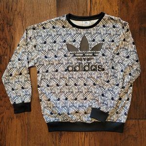 Adidas Big Girls Zebra Print Sweatshirt - Large
